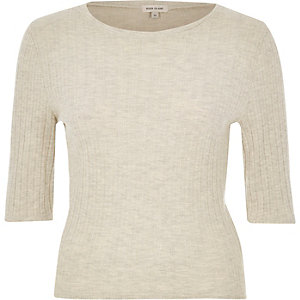 Cream crew neck top