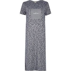Blue box print maxi t-shirt dress