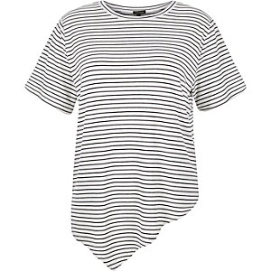 RI Plus stripe asymmetric hem t-shirt