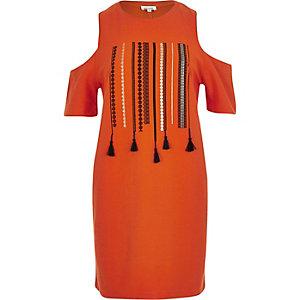 Orange tassel cold shoulder top