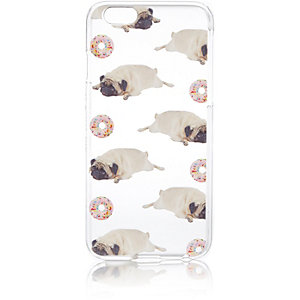 Clear pug print iPhone 6 case