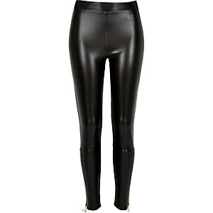 Black leather-look zip ankle leggings