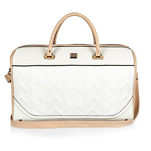 White embroidered weekend bag