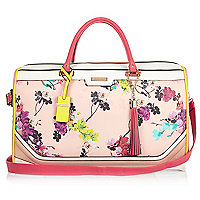 Pink floral print weekend bag
