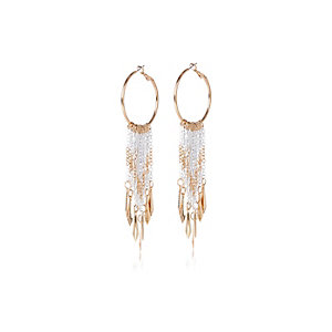 Gold tone chain dangle earrings