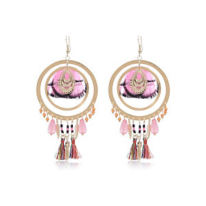 Pink feather dangle earrings