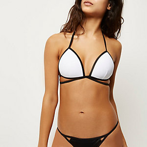 White contrast strappy bikini top