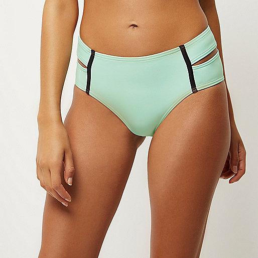 Bas de bikini vert clair à double lanière