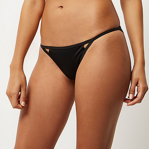Black cut-out bikini bottoms