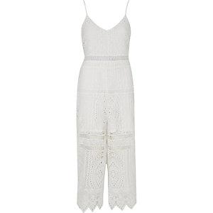 White lace culotte jumpsuit