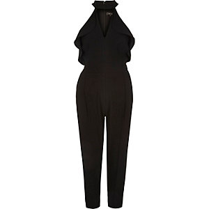 Black frill plunging jumpsuit