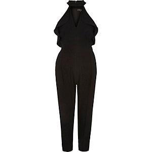 Black frill plunging jumpsuit