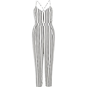 White stripe tapered jumpsuit
