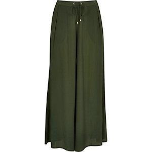 Khaki palazzo pants