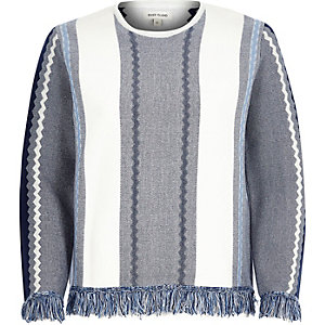 Blue stripe fringed sweater