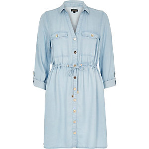 Light blue wash denim shirt dress