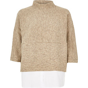 Beige ribbed knitted sweater