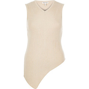 Cream knitted ribbed asymmetric top