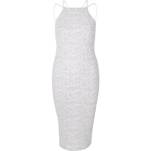 Weißes Kleid mit Glitzer und Spaghettiträgern