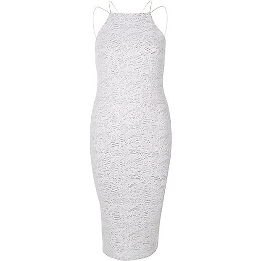White sparkle cami dress