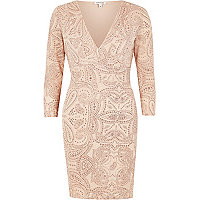 Pink sparkly plunge bodycon dress