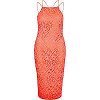 Coral lace cami bodycon dress