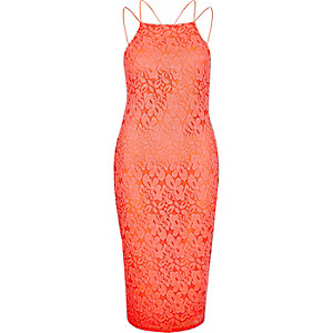 Coral lace cami bodycon dress