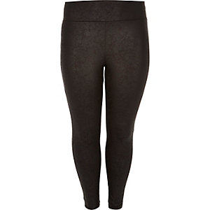 RI Plus black wet look high rise leggings