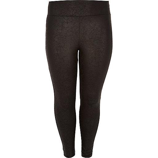Plus black wet look high rise leggings