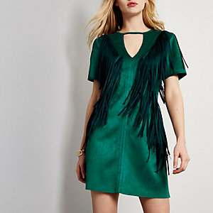 Dark green suede fringe dress