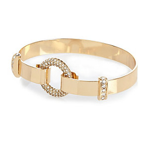 Gold tone encrusted bangle