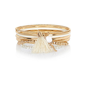 Gold tone bangle bracelets pack
