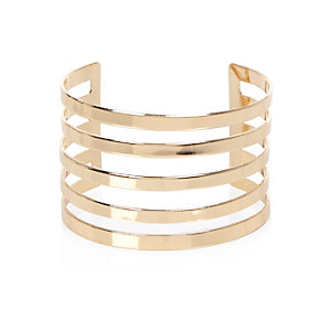 Gold tone multi row cuff bracelet