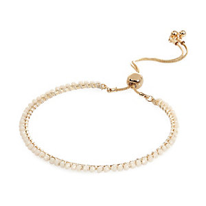 Gold tone beaded lariat bracelet