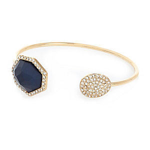 Gold tone embellished blue bangle