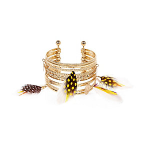 Gold tone feather stacked cuffs