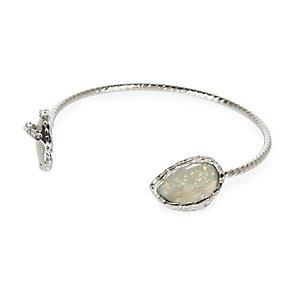 Silver tone teardrop gem cuff