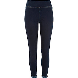 Dark wash denim high waisted leggings