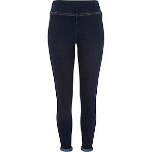 Dark wash denim high waisted leggings