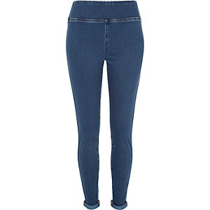 Blue denim high waisted leggings