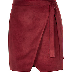 Dark red faux suede wrap mini skirt