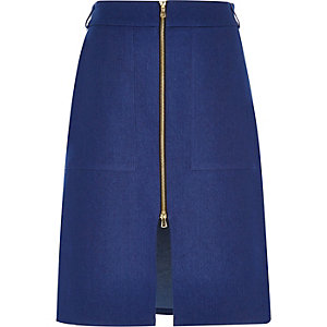 Blue denim zip-up midi skirt