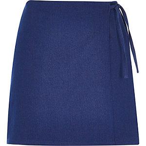 Blue denim wrap mini skirt