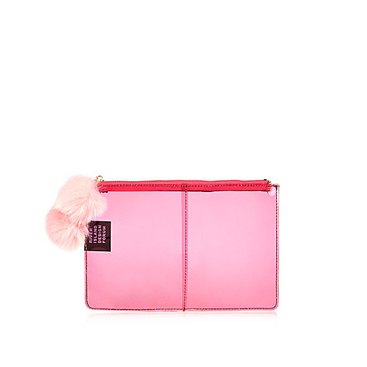Pink Design Forum clear clutch bag