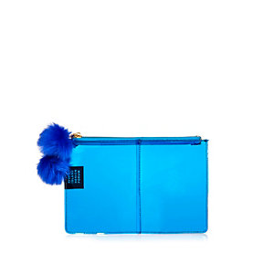 Blue Design Forum clear clutch bag