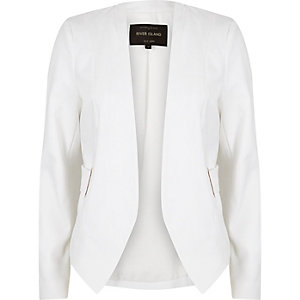 White eyelet side collarless blazer