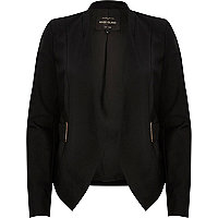 Black eyelet side collarless blazer