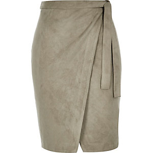Khaki green faux suede wrap skirt