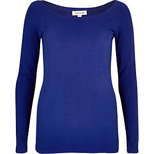 Blue scoop neck top