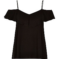 Black tiered bardot cami